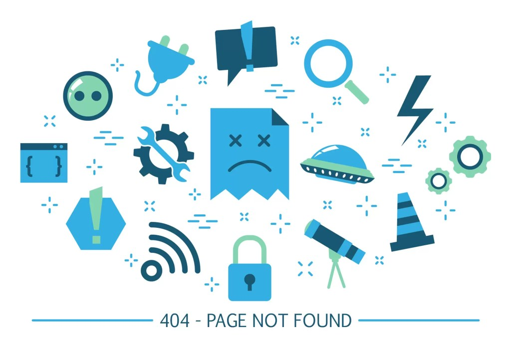 a variety of icons indicating a broken website