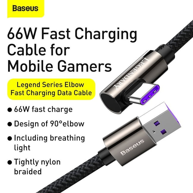 Baseus CACS000503 Legend Series Elbow Fast Charging Data Cable USB to Type-C 66W 2m Blue 6
