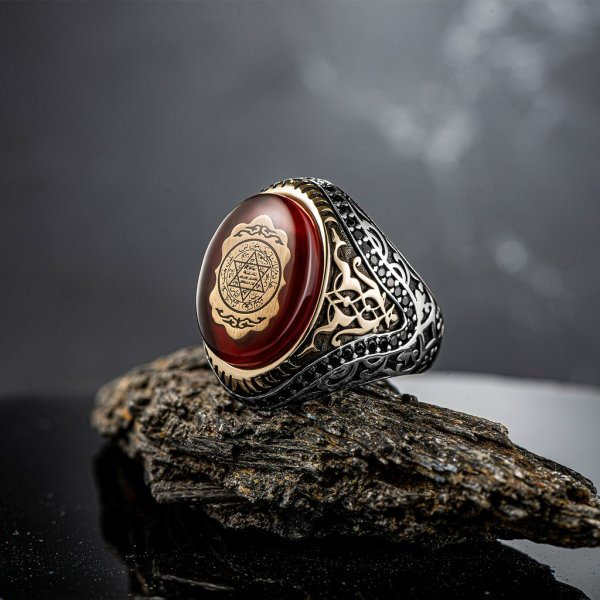 خاتم فضة بحجر العنبر الأحمر ختم سليمان