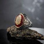 خاتم فضة بالكهرمان الأحمر - ختم سليمان - عيار 925