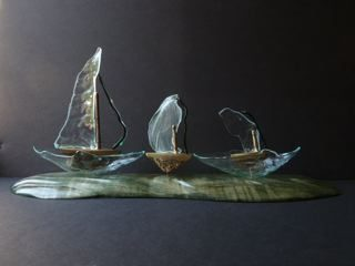 Sea State, Bronze Sculpture with cast glass and shaped wood base