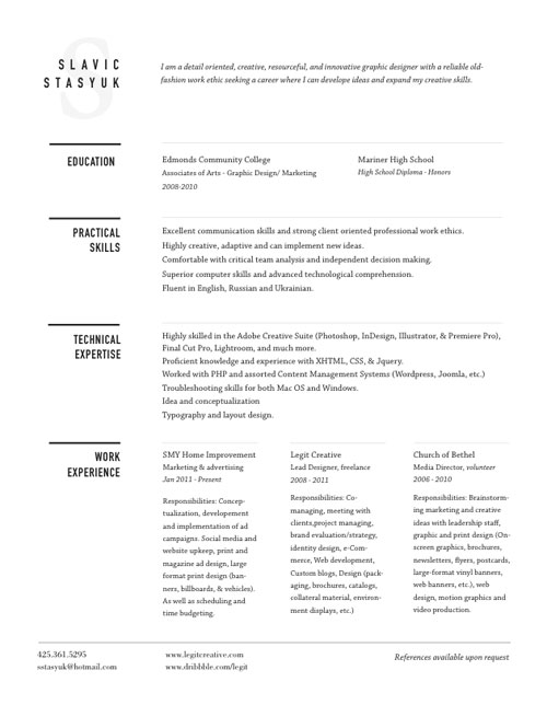 30 great examples of creative cv resume design web amp graphic design