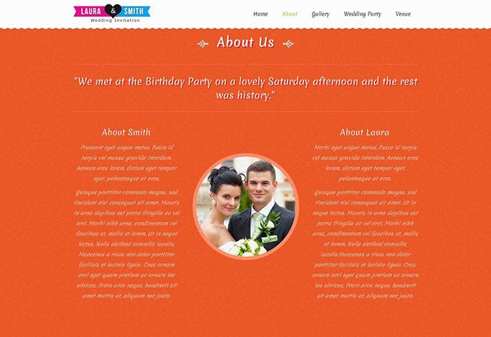 Wedding Single Page Website Template