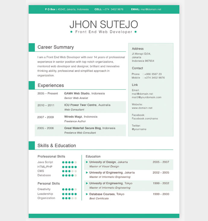 Free Resume Layout Design. Professional Cv Template Word Document