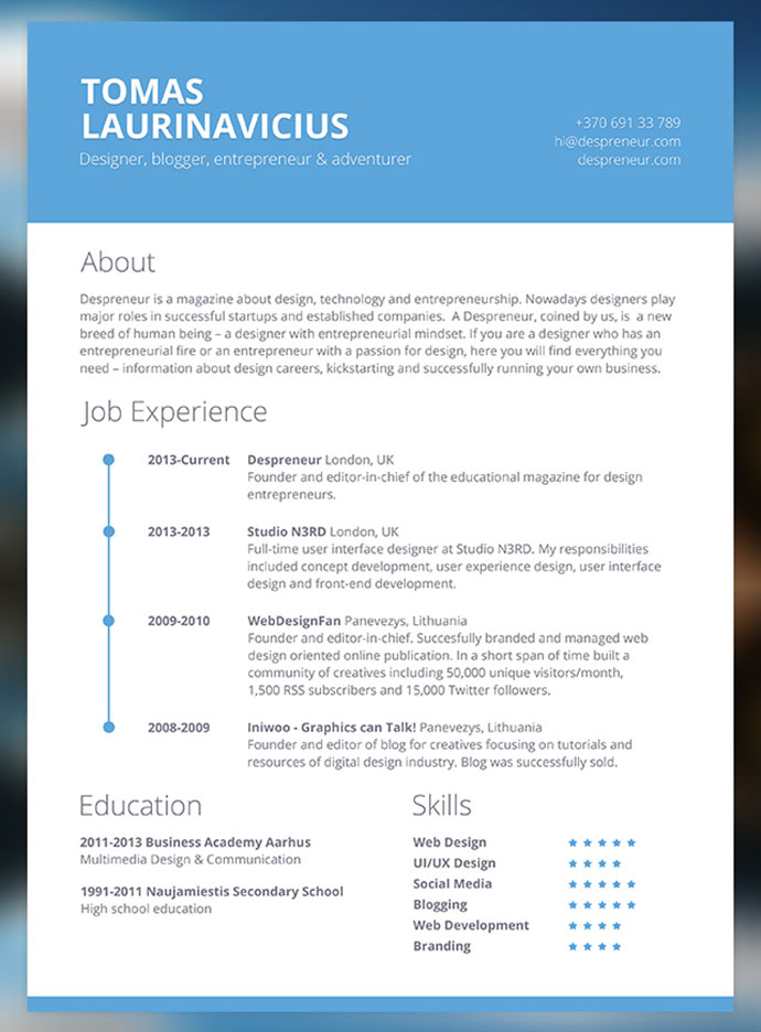 28 free cv resume templates html psd amp indesign web