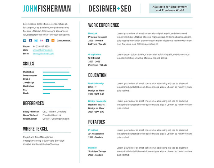 50 professional html resume templates web amp graphic design