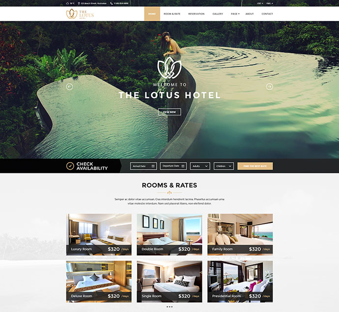 Lotus - Hotel Booking PSD Template