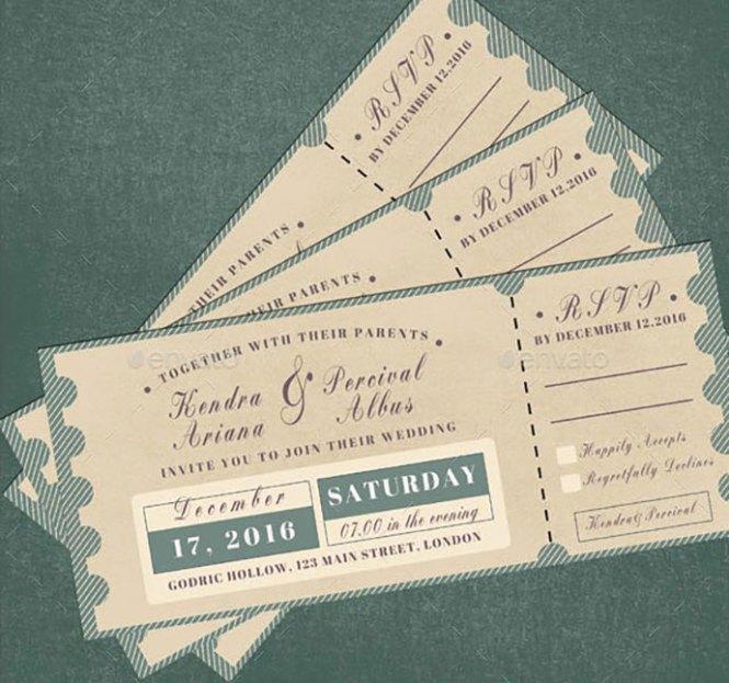 Ticket Wedding Invitation Templates