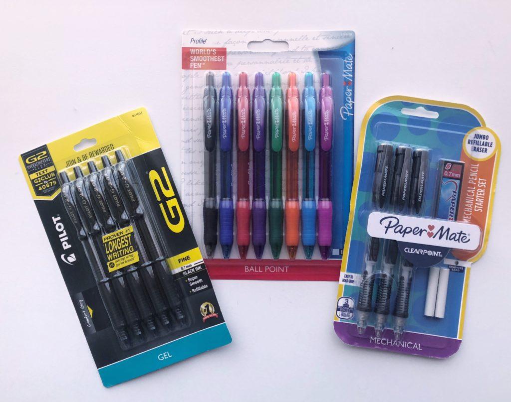 school supplies pens