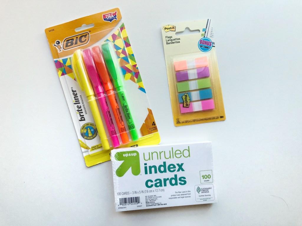 School supplies cards