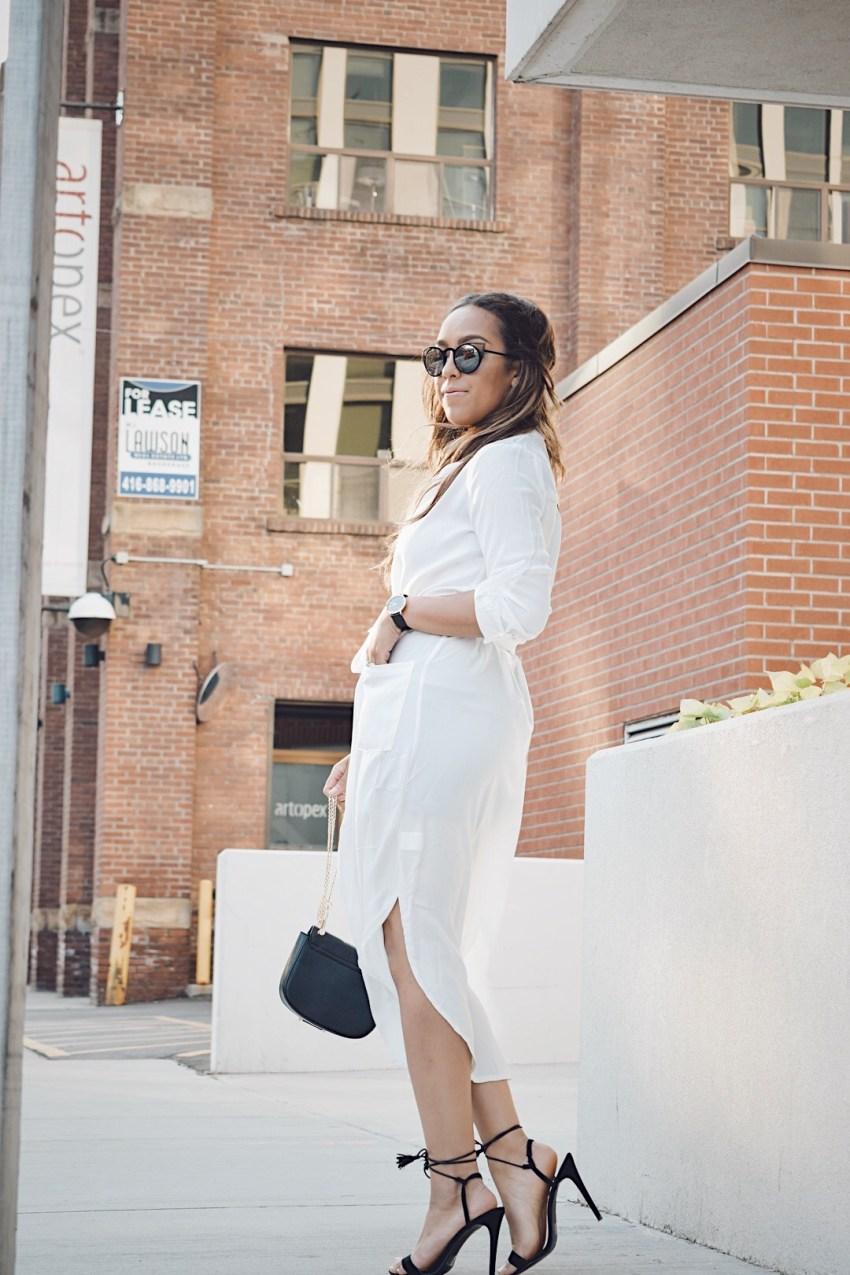 Fashion Blogger Lauren Sheriff Wearing a White Shirt Dress From SheIn