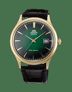Orient Bambino Gen 2, Version 4 Green sunburst dial, gold case. Model number FAC08002F0