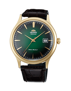 Orient Bambino Gen 2, Version 4 Green sunburst dial, gold case. Model number FAC08002F0