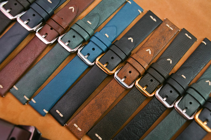 Various colours calf leather classic straps for vintage watches by Maverick Custom Handmade