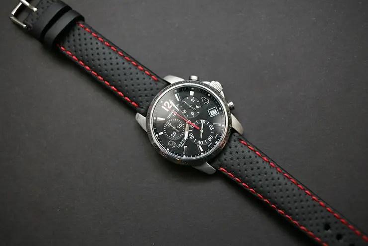 Perforated calf leather sports watch strap by Maverick Custom Handmade