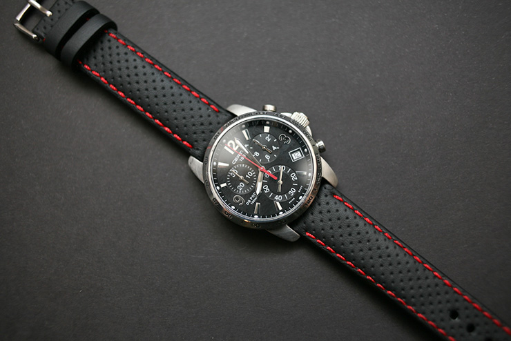 Perforated calf leather sports watch strap by Maverick Custom Handmade