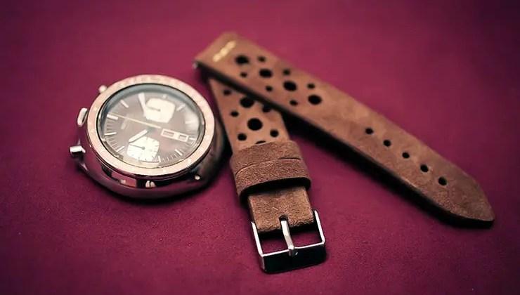 Brown suede rally tropic watch strap by Maverick Custom Handmade