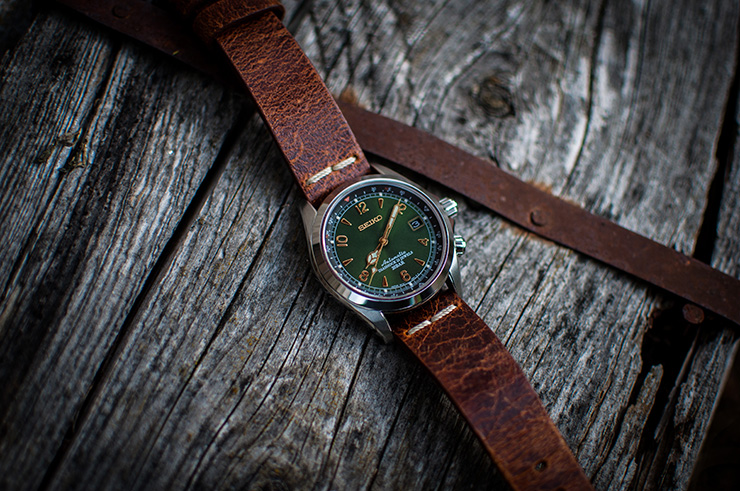 Seiko Alpinist on brown Colareb Roma strap