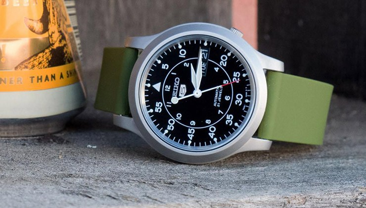 Army Green Barton Bands Quick Release Silicone Watch Strap on Seiko 5