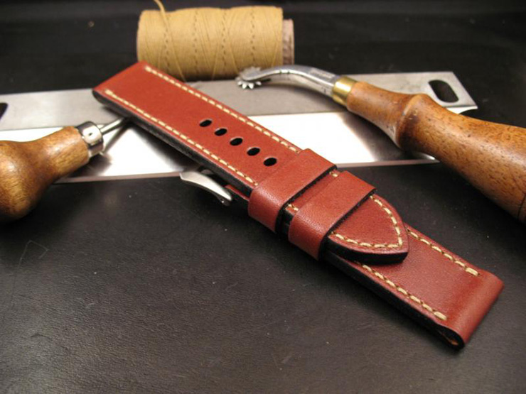 Burgundy Leather Watch Strap by the StrapSmith