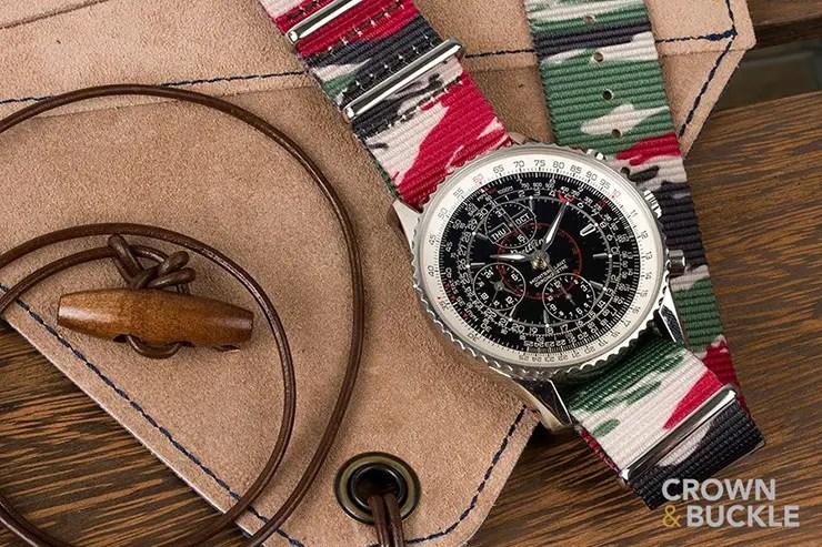 Crown and Buckle Lizard Camo Premium NATO watch Strap