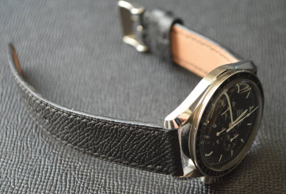 Jones in Tokyo Custom Black Watch Strap on Omega Speedmaster