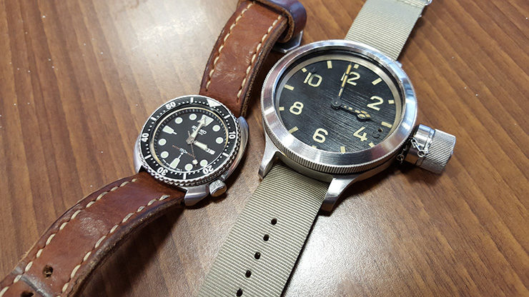 Neptune Straps Brown Leather Watch Strap on Seiko Diver