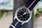 Barton Watch Bands Navy Pumpkin and Ivory NATO strap on Seiko 5