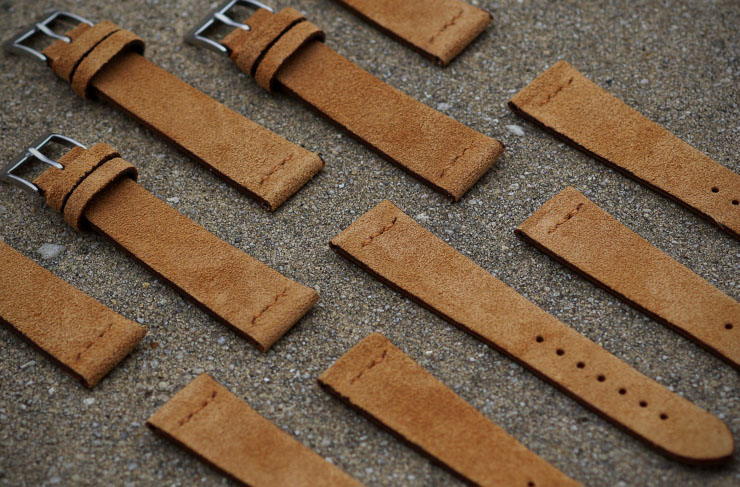 B&R Bands Vintage Style Suede Camel Watch Straps