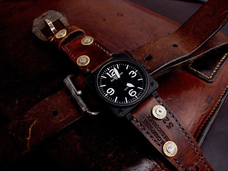 Bell & Ross BR01 on 1952 Swiss Ammo watch strap with custom bullet cartridge rivets