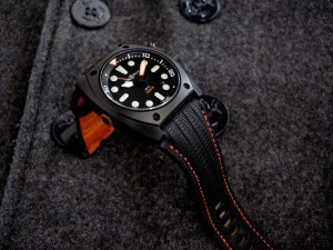 Bell & Ross BR02 Carbon Diver watch strap on SuperMatte Teju Lizard