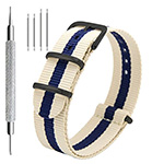 CIVO Nato watch strap 4-pack on Amazon - Blue and Beige Striped NATO