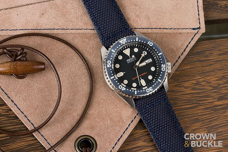 Crown & Buckle Phalanx Navy Canvas Watch Strap on Seiko Diver