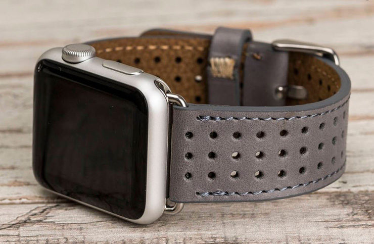 Gray Perforated Apple Watch band by 02Leather