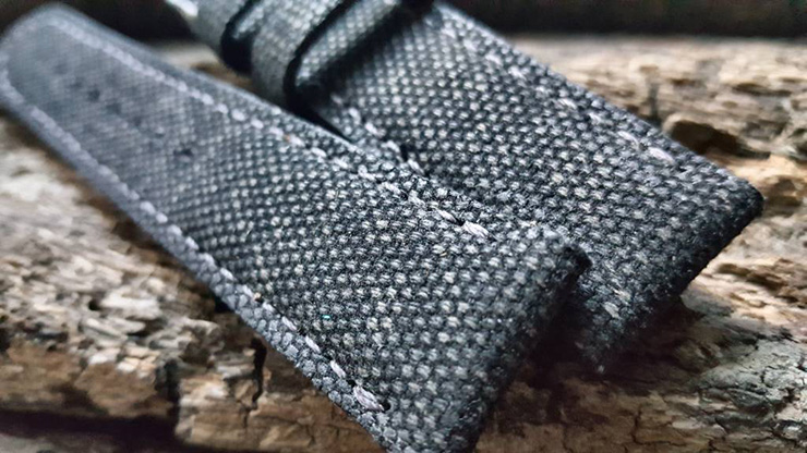 Two One Four Straps - Black Canvas Watch Strap