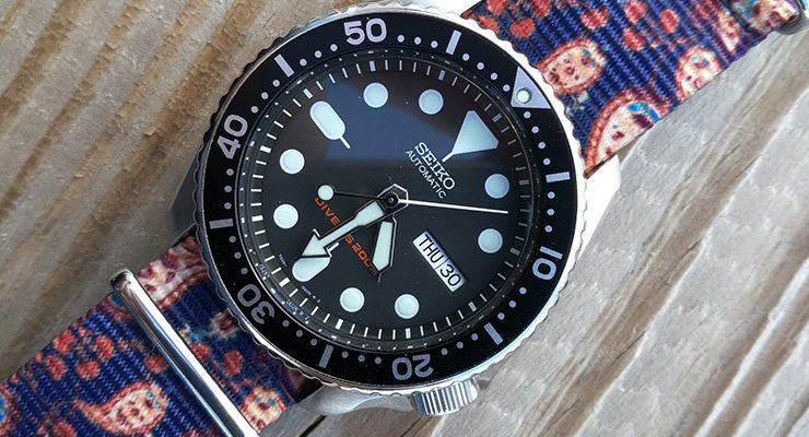 Blue and Purple Graphic NATO on Seiko SKX007 Diver
