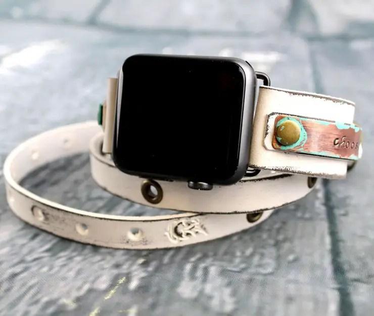 Distressed White Apple Watch Strap by Cuckoo Nest Art Studio