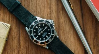 Two-Stitch Straps Coal Leather Watch Strap on Rolex