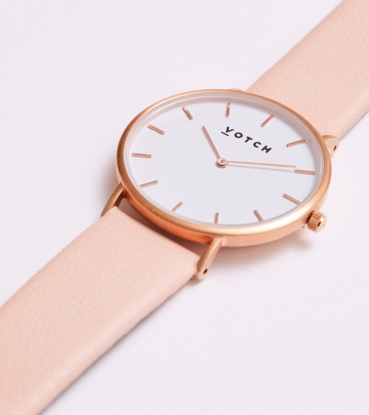 Votch Watch Classic on Pink Vegan Strap
