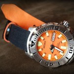 Clover Straps Denim Watch Strap on Seiko Orange Monster