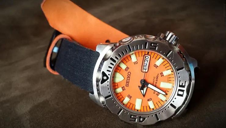 Clover Straps Denim Watch Strap on Seiko Orange Monster