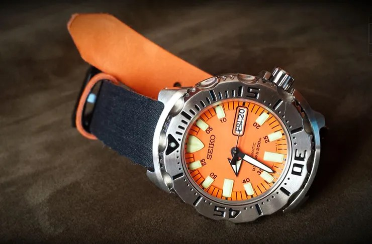 Clover Straps Denim Watch Strap on Seiko Orange Monster c524ed857