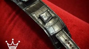 Black Freddie Matara Custom Leather Watch Strap for a Rolex Daytona