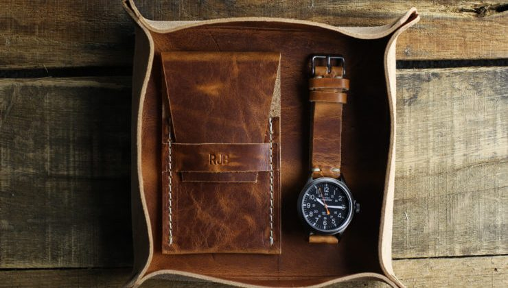 Choice Cuts Industries valet tray and single slot watch roll with a Timex Expedition Scout and custom strap, all in English Tan leather