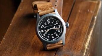 B&R Bands - Oak Classic Vintage Watch Band on a Hamilton Khaki Field Mechanical Watch