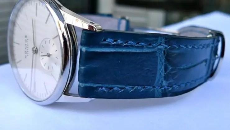 Nomos Orion 33 on Azure Bleu Alligator by Dangerous 9 Straps