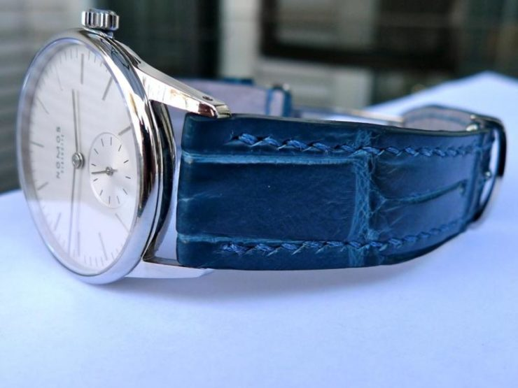 Nomos Orion 33 on Azure Bleu Alligator by Dangerous 9 Straps