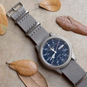 Crown & Buckle Ash Leather NATO strap on a Seiko SNK 807