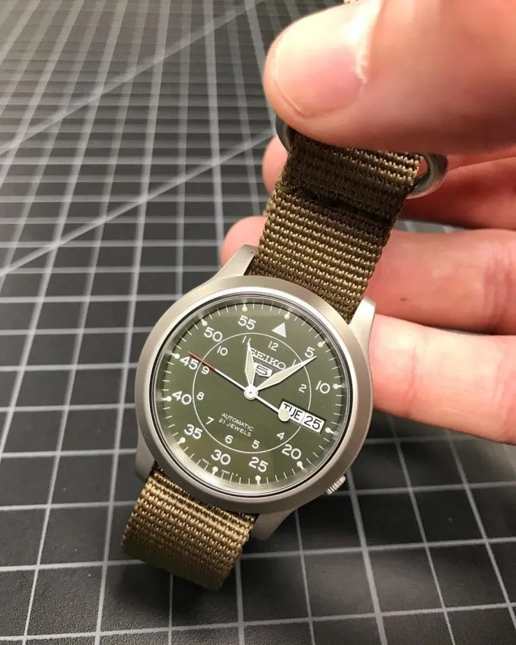 Crown & Buckle Olive NATO strap on a Seiko SNK 805
