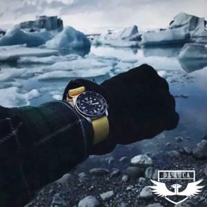 DaLuca Straps Yellow Nylon Military Watch Strap on a Seiko SKX